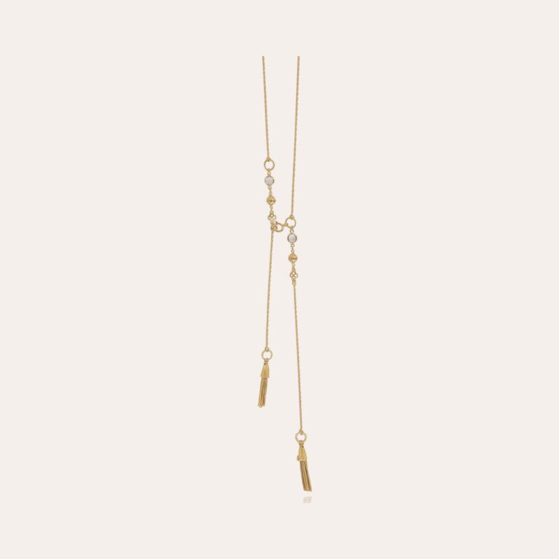 Tresse long necklace gold