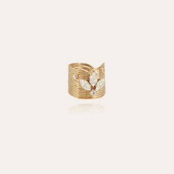 Wave strass ring gold