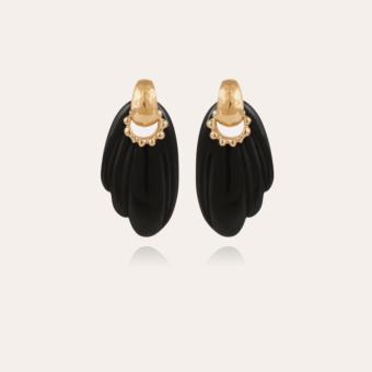 Alba earrings acetate gold - Black