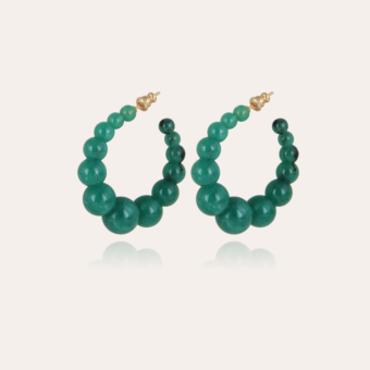 Andy hoop earrings small size acetate gold - Green