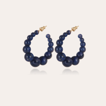 Andy hoop earrings small size acetate gold - Lapis