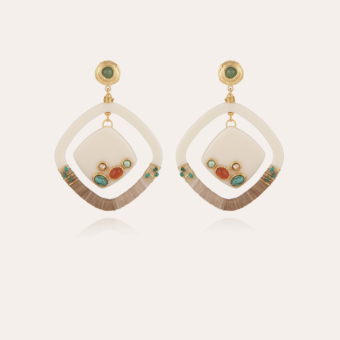 Aura earrings acetate gold - Ivory