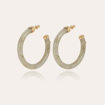 Caftan hoop earrings acetate gold - Light green