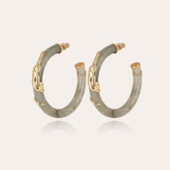 Cobra hoop earrings acetate gold - Light green
