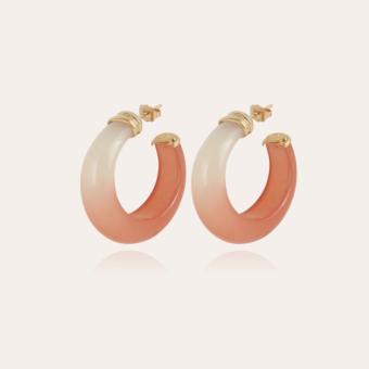 Abalone hoop earrings acetate gold - Peach