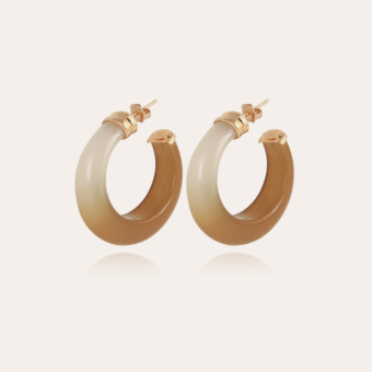 Abalone hoop earrings acetate gold - Light Khaki