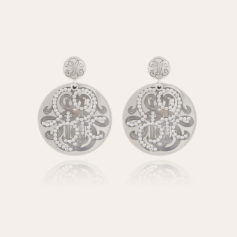 Diva strass earrings large size silver