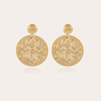 Diva strass earrings large size gold