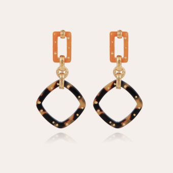 Escale earrings large size acetate gold - Tortoise