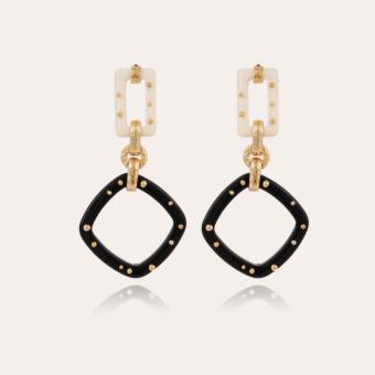 Escale earrings large size acetate gold - Black