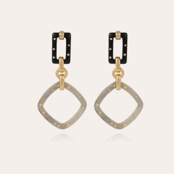 Escale earrings large size acetate gold - Verdigris