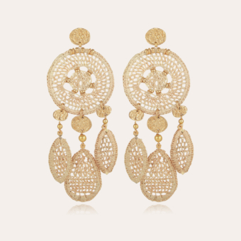 Fanfaria raffia earrings gold