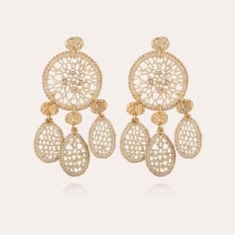 Fanfaria raffia earrings small size gold