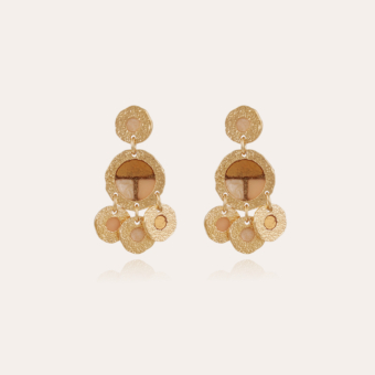 Illusion double earrings gold