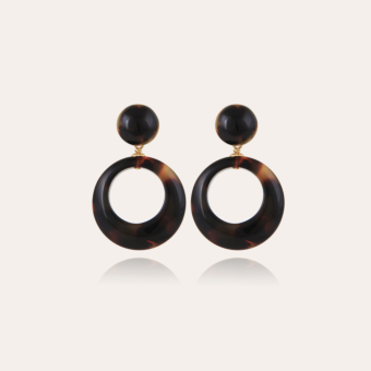 Ischia earrings small size acetate gold - Tortoise