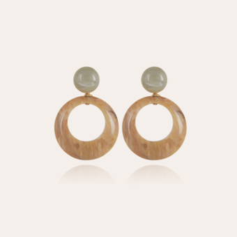 Ischia earrings small size acetate gold - Beige