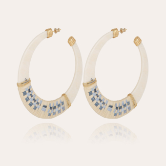 Lodge raffia hoop earrings large size acetate gold - Ivory