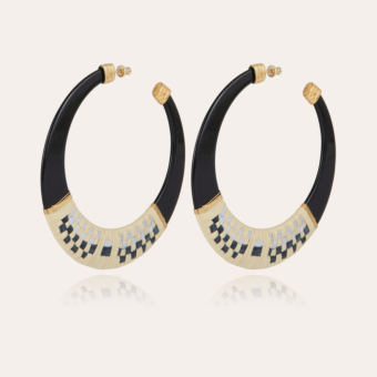Lodge raffia hoop earrings large size acetate gold - Black