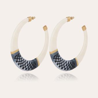 Lodge raffia hoop earrings large size acetate gold - Ivory