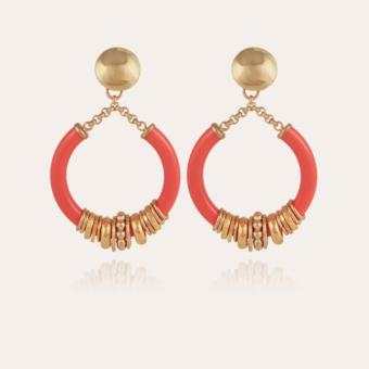Mariza earrings acetate gold - Coral