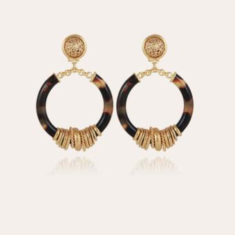 Mariza earrings small size acetate gold - Tortoise