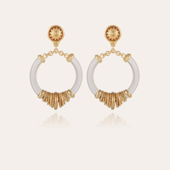 Mariza earrings small size acetate gold - Clear