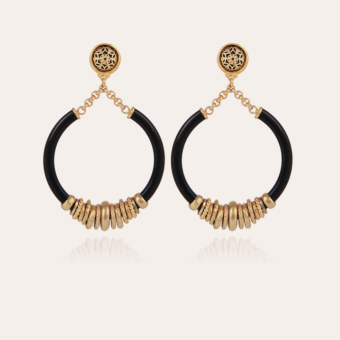 Mariza earrings acetate gold - Black