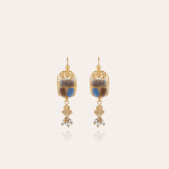Scaramouche enamel earrings gold