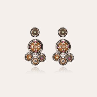 Sequin two rows earrings silver