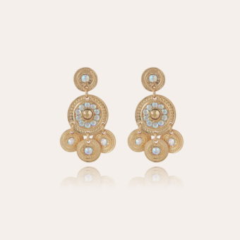 Sequin two rows earrings gold