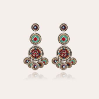 Sequin triple rows earrings silver