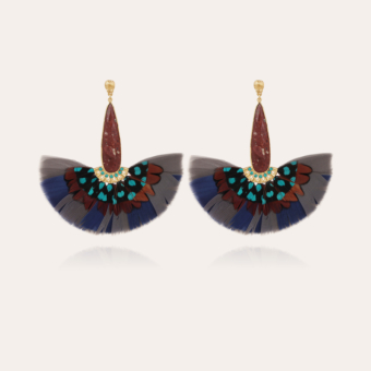 Serti Paon earrings gold - Exclusive piece (3 pieces)