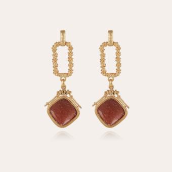 Siena earrings gold - Red Jaspe