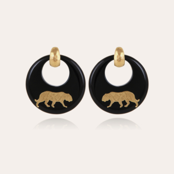 Tiger earrings acetate gold - Black