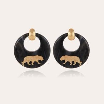 Tiger earrings acetate gold - Grey
