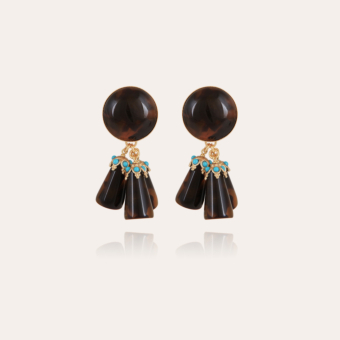 Trapani earrings acetate gold - Tortoise