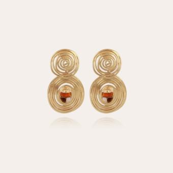 Wave Scaramouche enamel earrings small size gold