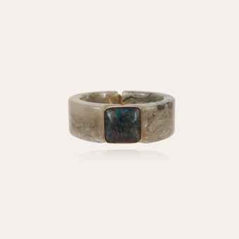 Arty Bis bracelet acetate gold - Verdigris - Blue Apatite