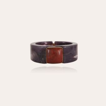 Arty Bis bracelet acetate gold - Purple - Red Jaspe