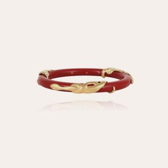 Cobra jonc bracelet acetate gold - Red