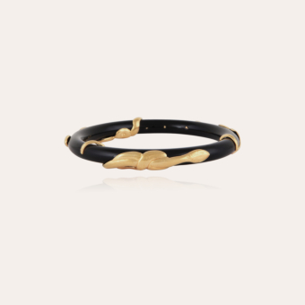 Cobra jonc bracelet acetate gold - Black