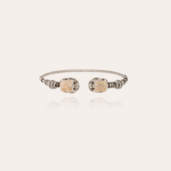 Duality large Scaramouche Twist enamel bracelet silver