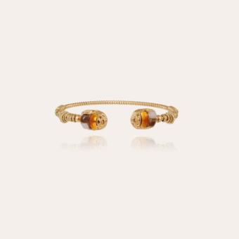 Duality large Scaramouche Torsade enamel bracelet gold