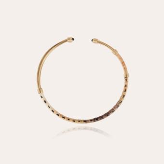 Ariane cabochons raffia necklace gold