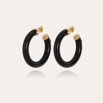 Caftan hoop earrings small size acetate gold - Black