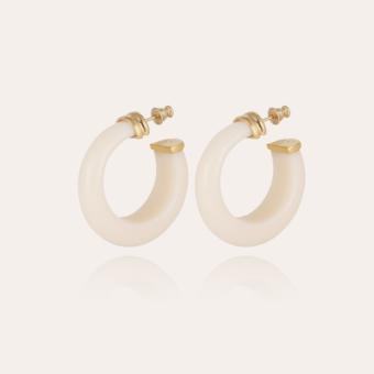 Abalone hoop earrings acetate gold - Ivory