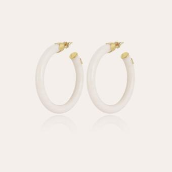 Caftan hoop earrings acetate gold - Ivory