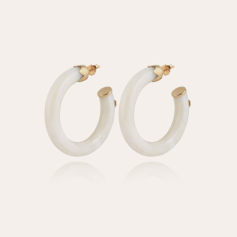 Caftan hoop earrings small size acetate gold - Ivory