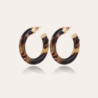 Caftan hoop earrings small size acetate gold - Tortoise