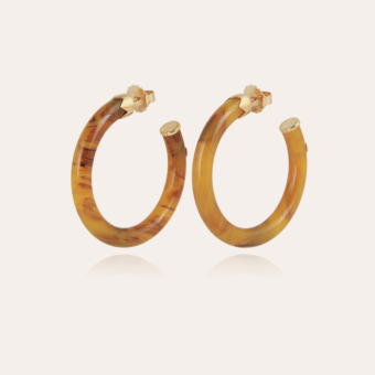 Caftan hoop earrings acetate gold - Beige